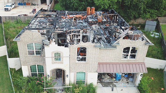 Aerial view of fire damage to home